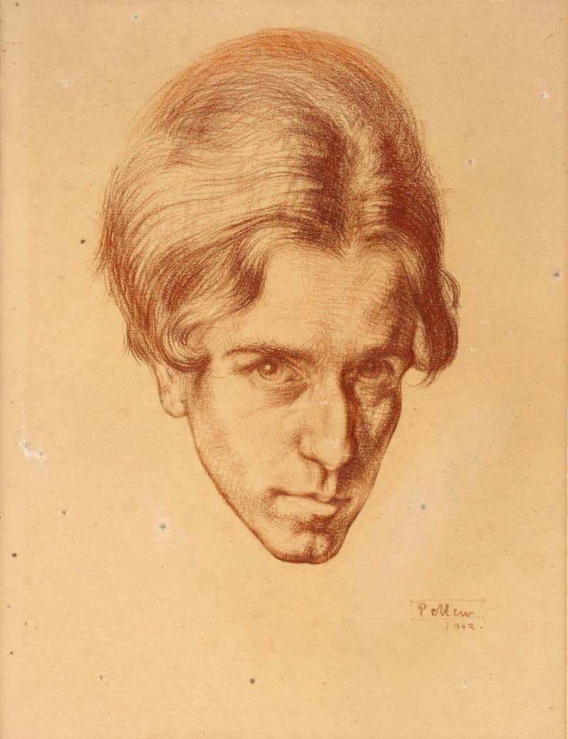 "to comment , use artist's contact at: www.watch-file.com Claughton Pellew ""Self-portrait 1912"", chalk on paper"