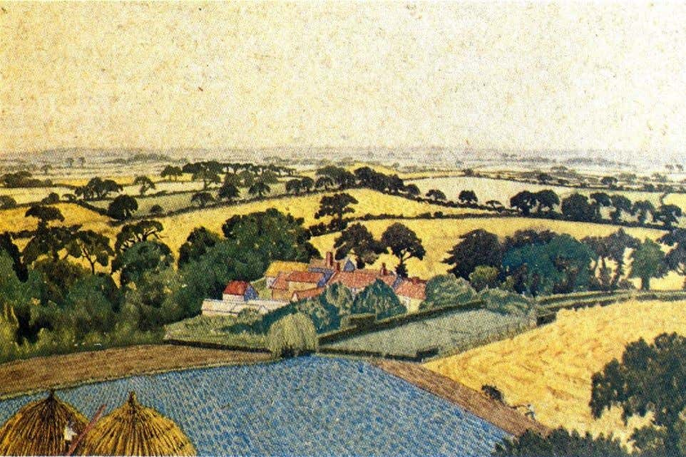 "Sarah Roeloefs ""Countryside"" c.1925. Watercolour of Lodge Farm near Southrepps. ""Pellew often enjoys imagining"