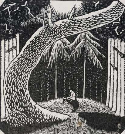 "barely discernible on the steps, working with nature. ""The forest"" 1925, wood engraving, 8 x 7.5"