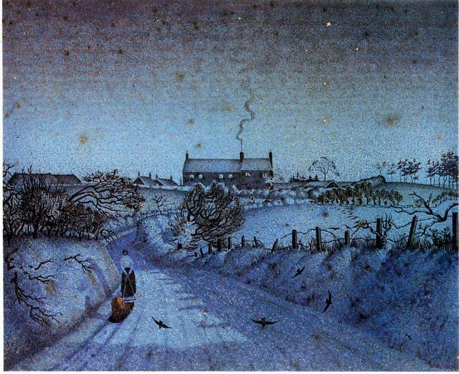 "Clare Soboen ""Snow scene at night"" 1925, watercolour, pen & ink. The scene is a lane"