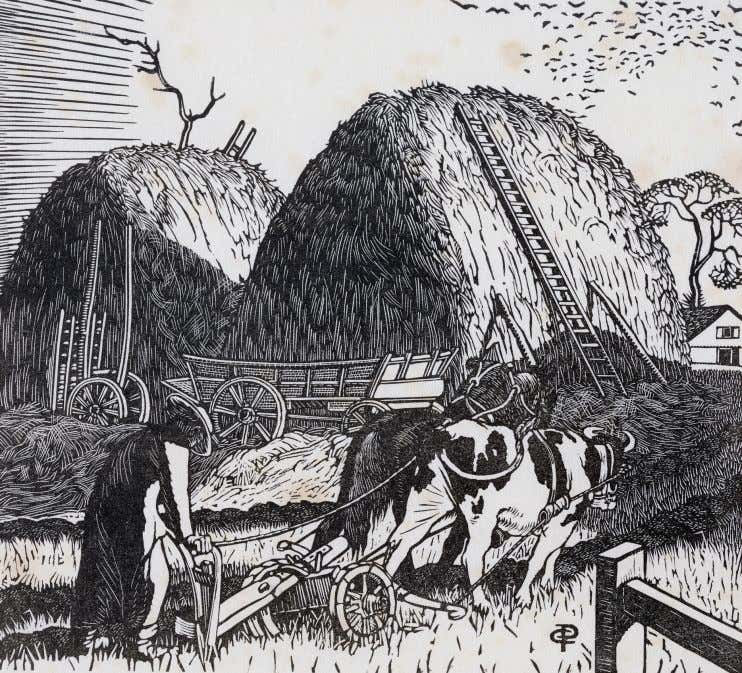 "ink. The scene is a lane between Gimingham and Mundesley. ""The ricks"" 1927, wood engraving. 12.5"