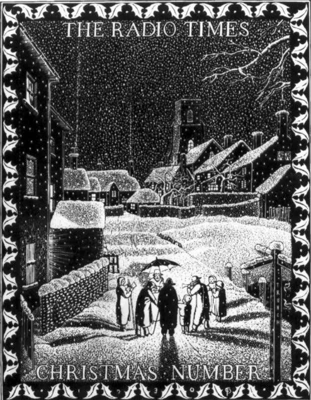 """The carol singers"" 1930, wood engraving. Sited in the village of Trunch, 1 ½ miles"