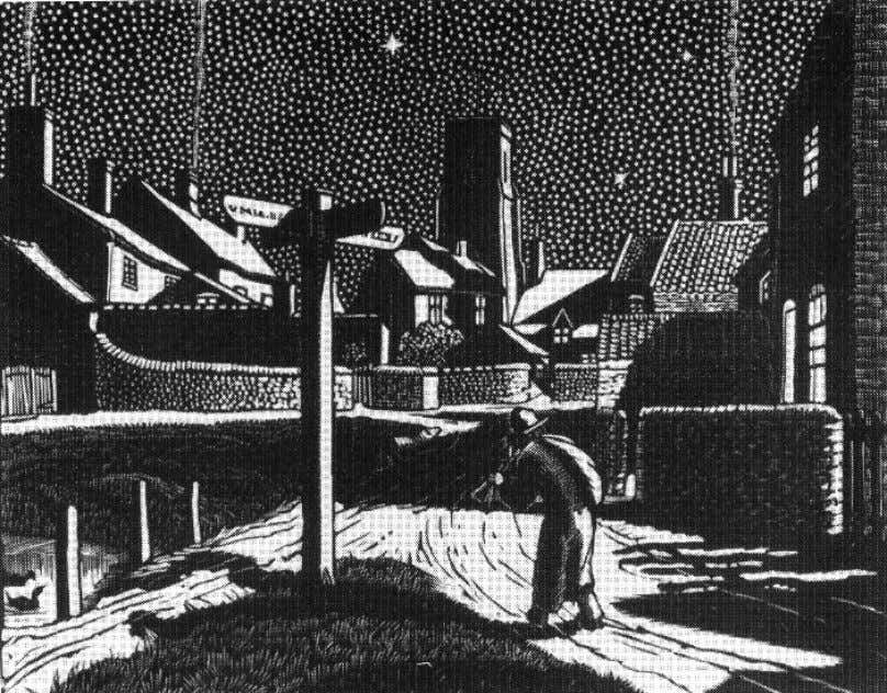 """The musical beggar"" 1928, wood engraving in the village of Trunch. ""The smithy"" 1930, wood"