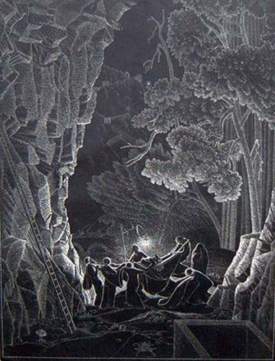 """The entombment"" 1930. Wood engraving. ""One of Claughton's most involved night scenes. The distant scenery,"