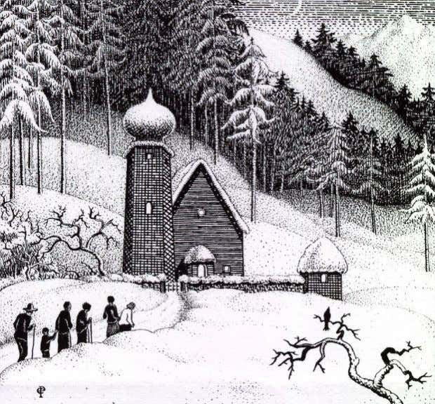 "form a cross standing above the vegetation"" [ Timothy Wilcox ] ""Bavarian church in winter"" 1930."