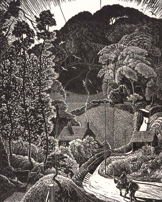 """Gloucestershire Lane"" 1933. Wood engraving. 25 x 20 cms. Typical of the steep wooded hillsides"