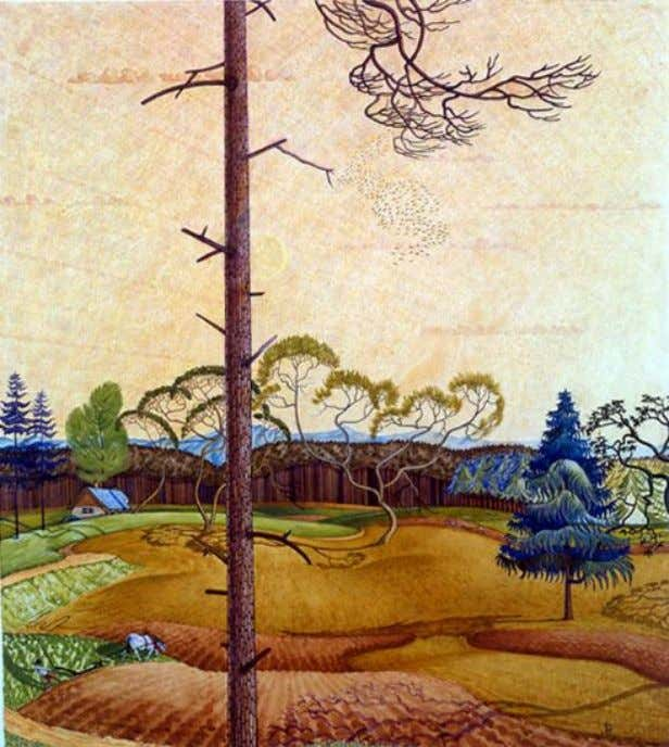"JHW Fine Arts ""Landscape with ploughman"" 1926 (ink & watercolour). [ A very similar painting, titled"