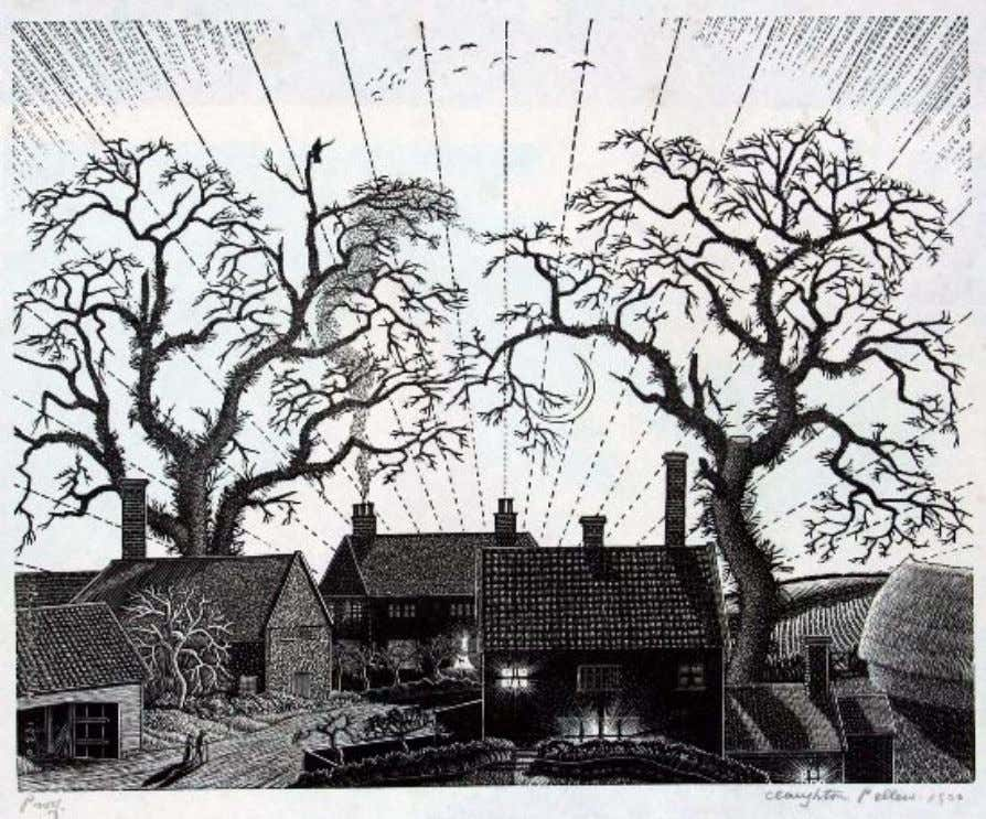 "(Government Art Collection): currently in the British Embassy, Islamabad, Pakistan ""Evening"" 1930. Wood engraving 23"