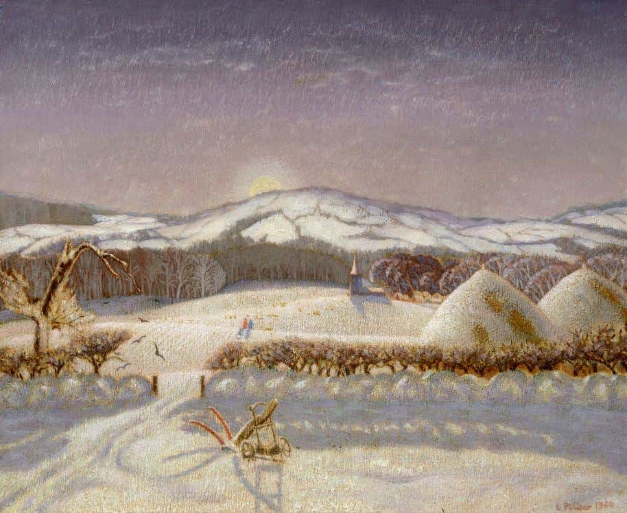"""Winter landscape in snow"" 1950, oil on canvas, 38 x 44 cms. ""Italian hill town"""