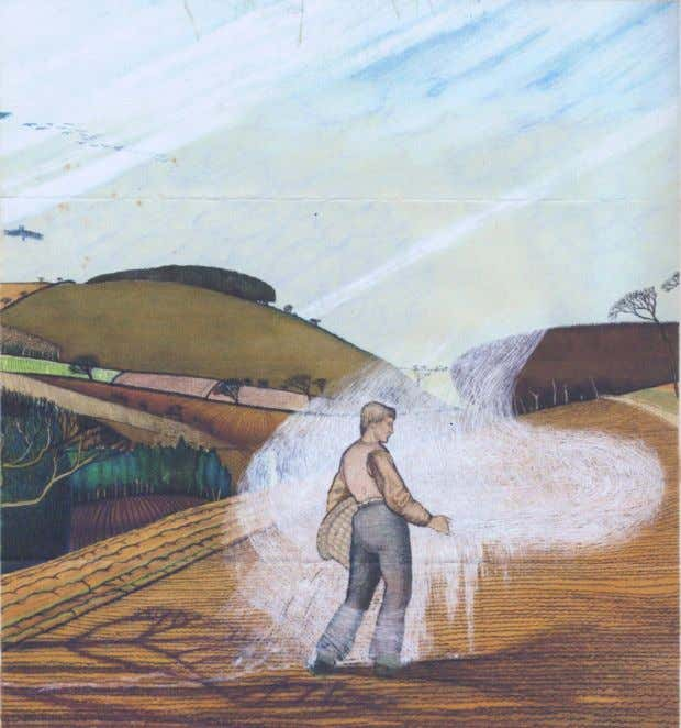 "POSTSCRIPT ""The marl spreader"". c.1920. This watercolour was discovered recently on the back of another of"