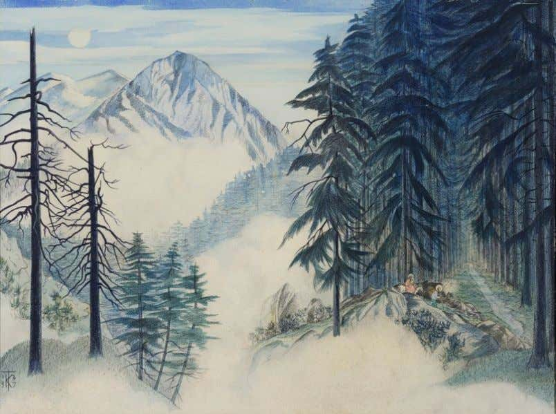"which is now at the Castle Museum & Gallery, Norwich "" Moonlight (Bavarian forest in snow"