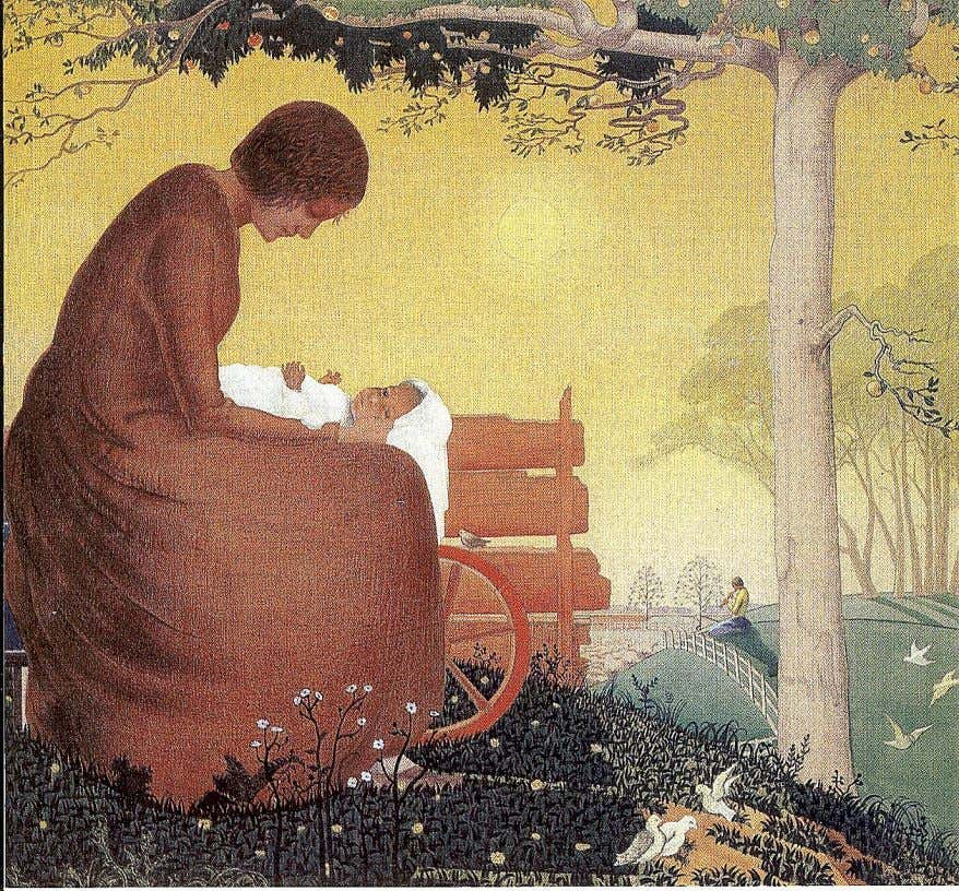 "him to be at the centre of this movement. Anne Tennent ""Mother and child 1920"", watercolour."
