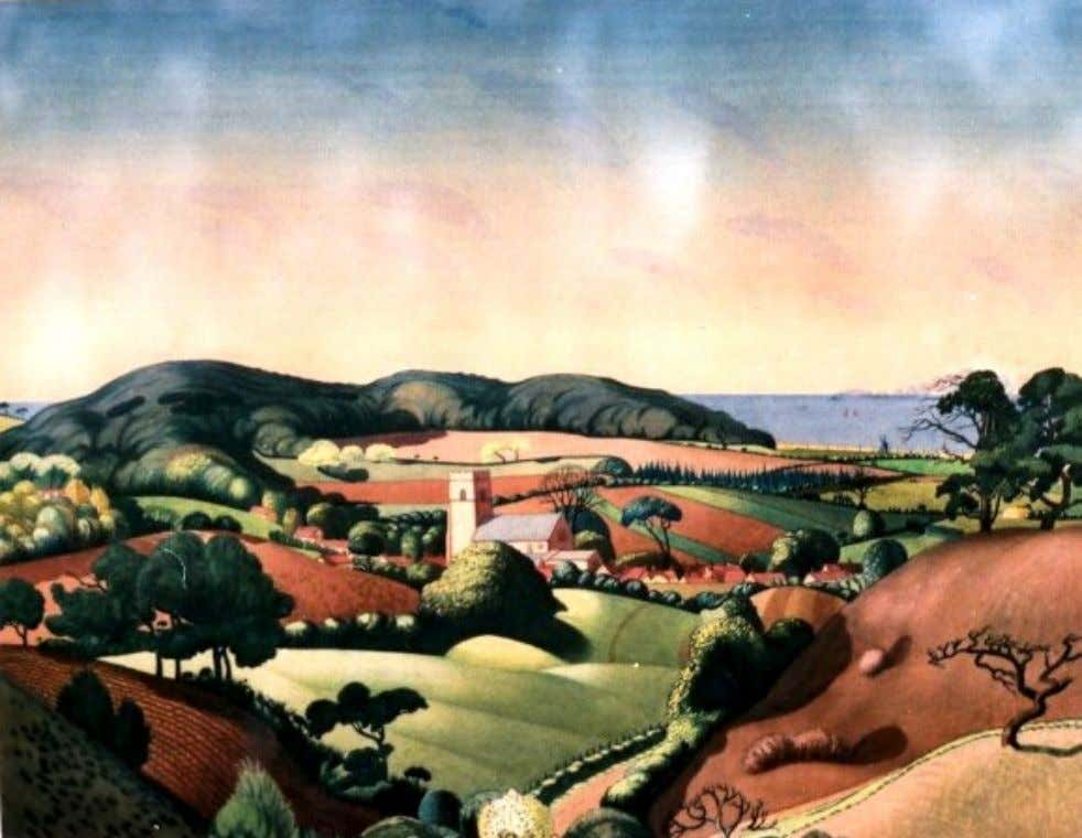 "Catherine Davenport ""Norfolk landscape"" 1921. Watercolour of the village of Upper Sheringham, from 'Pretty"