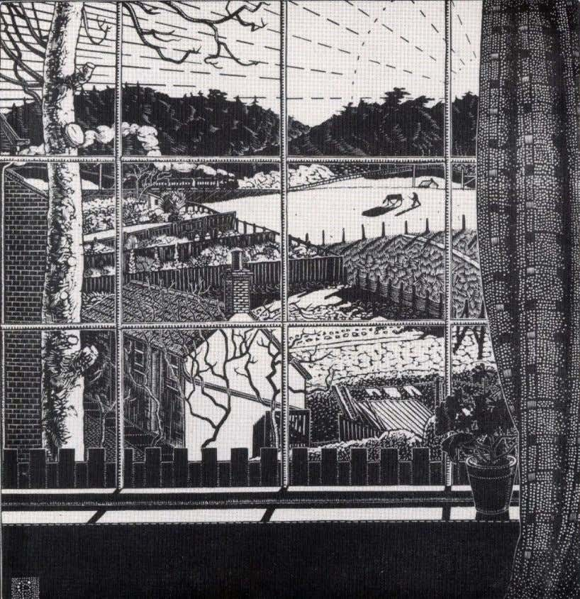 """From my window"" 1925. Wood engraving from Claughton's house, the Pightle at Overstrand, looking inland"