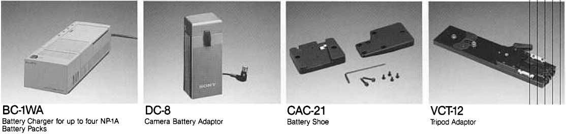 BC-1WA DC-8 CAC-21 VC~12 Battery Charger for up to four NP-1A Camera Battery Adaptor Battery Shoe