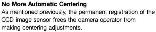 No More Automatic Centering As mentioned previously, the permanent registration of the CCD image sensor frees
