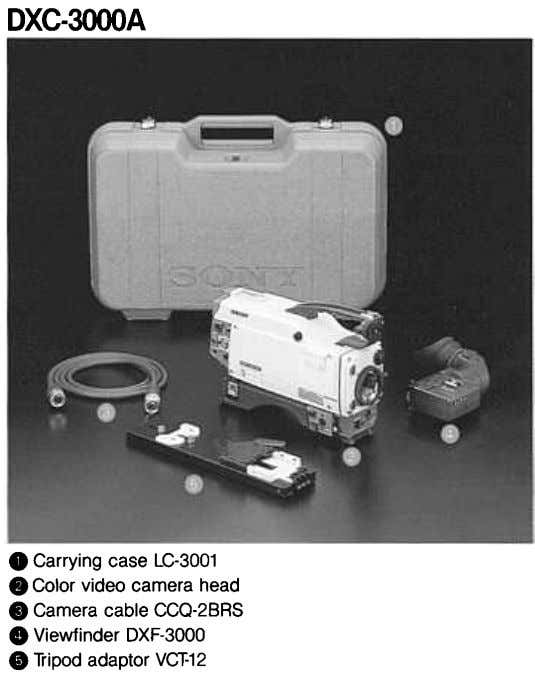 DXC-3000A O Carrying case LC-3001 .Color video camera head .Camera cable CCQ-28RS .Viewfinder DXF-3000 .Tripod adaptor