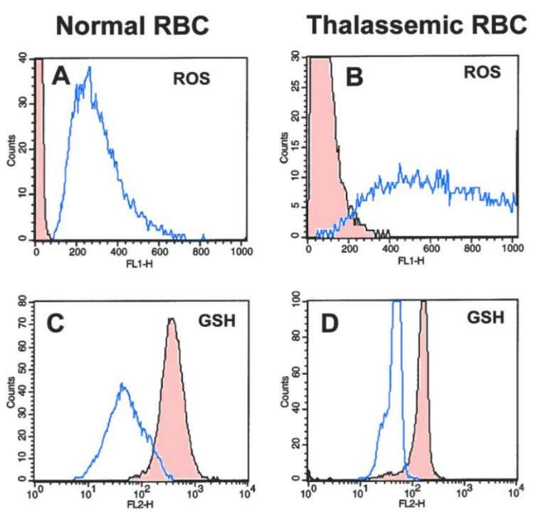 Fig. 3. Flow cytometry of ROS and GSH in normal and thalassemic RBC. Blood cells