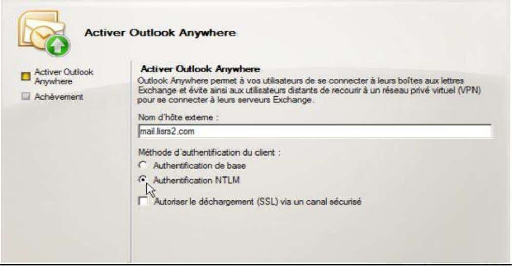 La configuration d'Outlook anywhere : La configuration d'outlook web access pour que les utilisateurs se connecte