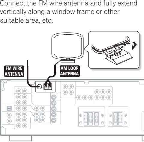 Connect the FM wire antenna and fully extend vertically along a window frame or other