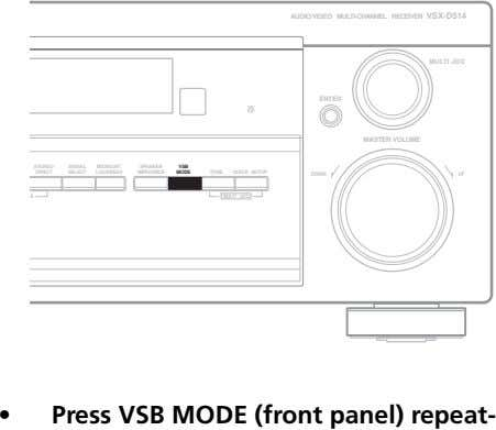 AUDIO/VIDEO MULTI-CHANNEL RECEIVER VSX-D514 MULTI JOG ENTER MASTER VOLUME STEREO/ SIGNAL MIDNIGHT/ SPEAKER VSB