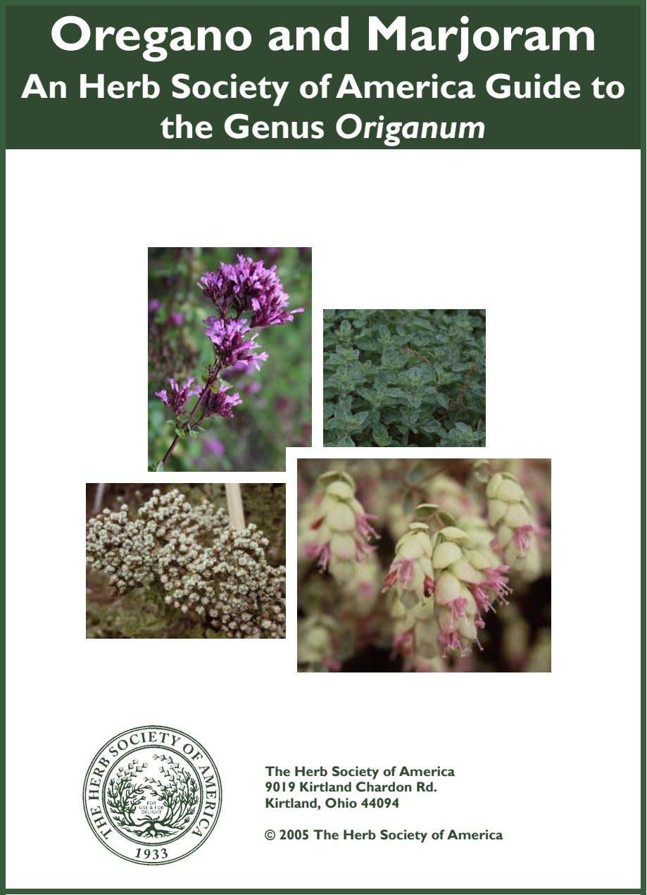 Oregano and Marjoram An Herb Society of America Guide to the Genus Origanum The Herb