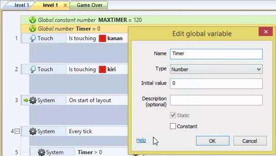 – Add global variable – beri nama Timer – Ok 3. Klik kanan sembarang di area
