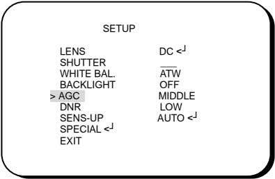 SETUP LENS DC <┘ SHUTTER WHITE BAL. ATW BACKLIGHT OFF > AGC MIDDLE DNR LOW