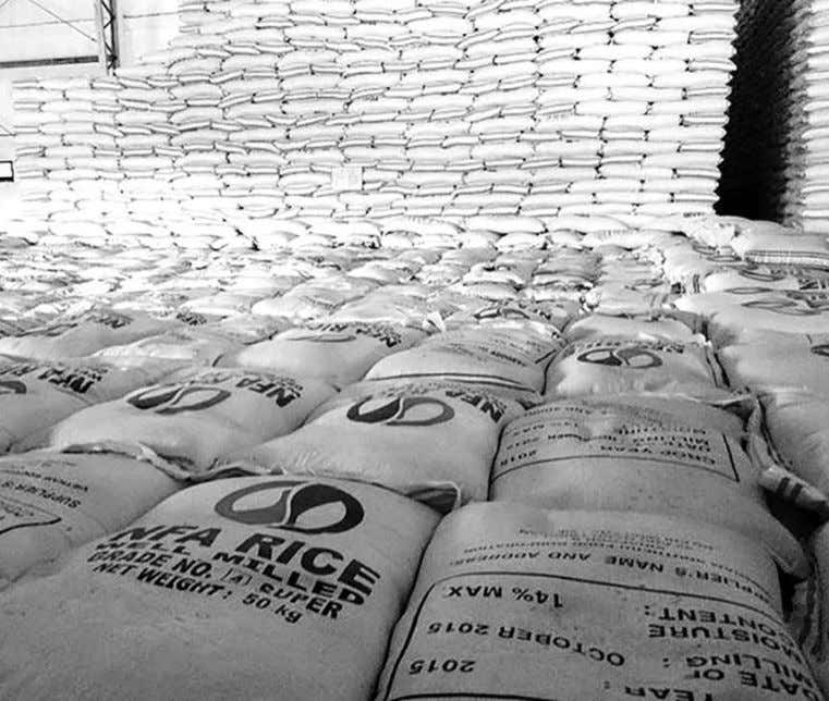 food banking in the Philippines. One action program that the Sacks of rice are stacked at