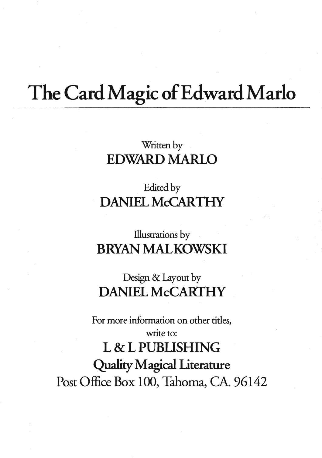 The Card Magic of Edward Marlo Written by EDWARD MARL0 Edited by DANIFLMcCARTHY IlImtiom by