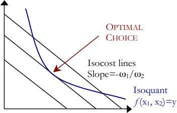 OPTIMAL CHOICE Isocost lines Slope=- ω 1 / ω 2 Isoquant ƒ(x 1 , x