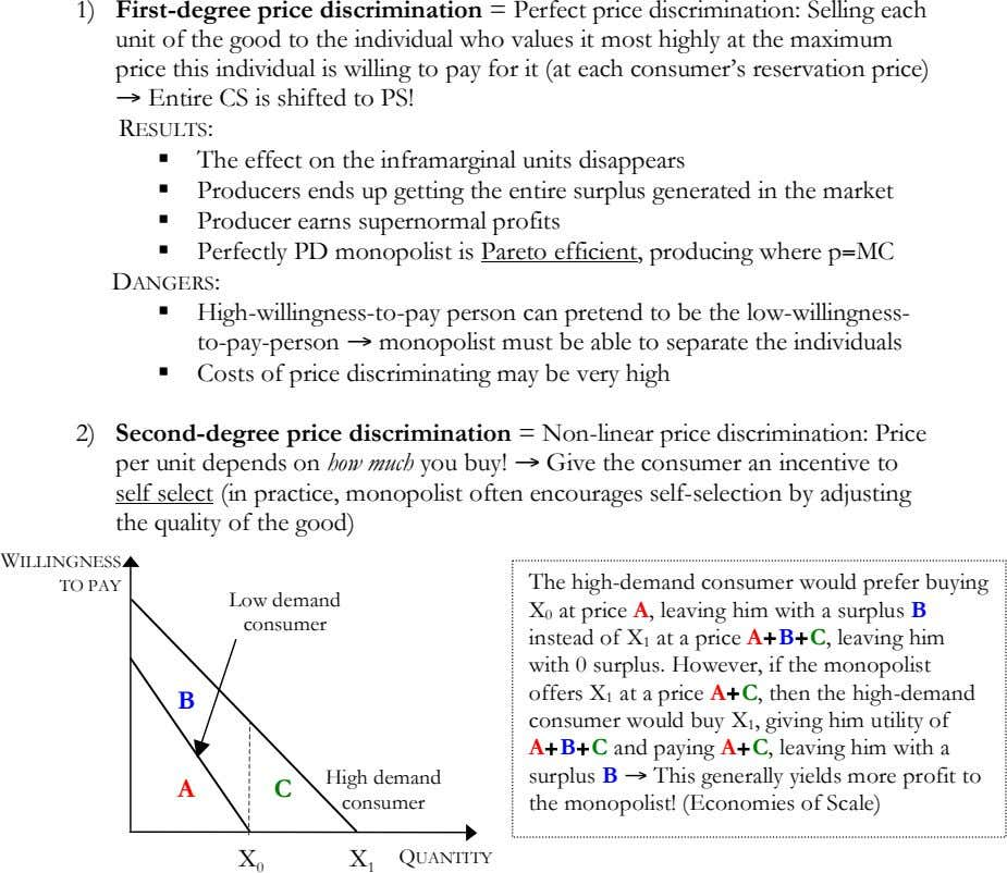 1) First-degree price discrimination = Perfect price discrimination: Selling each unit of the good to