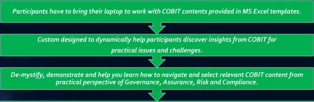 Participants have to bring their laptop to work with COBIT contents provided in MS Excel
