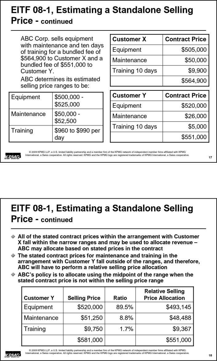 EITF 08-1, Estimating a Standalone Selling Price - continued ABC Corp. sells equipment Customer X Contract
