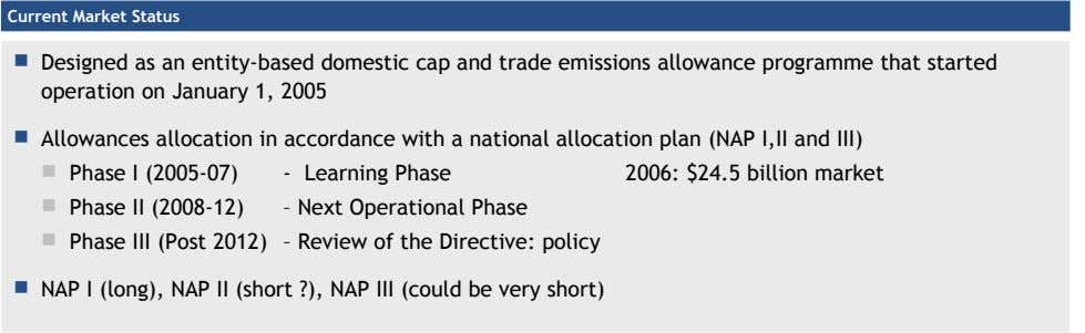 Current Market Status  Designed as an entity-based domestic cap and trade emissions allowance programme