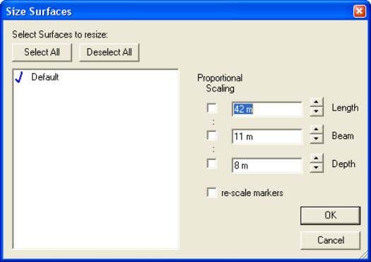 size for the design.  Select Surface | Size Surfaces This dialog may be used to