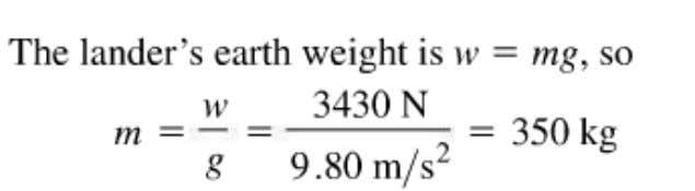 weight F g of the lander on the Martian surface and . The acceleration due to