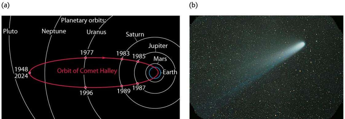 examples (a) The orbit of Comet Halley (b) Comet Halley as it appeared in 1986 Copyright