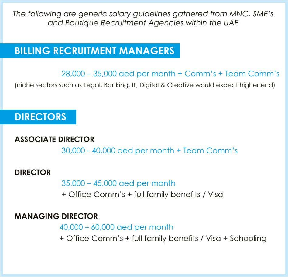 The following are generic salary guidelines gathered from MNC, SME's and Boutique Recruitment Agencies within