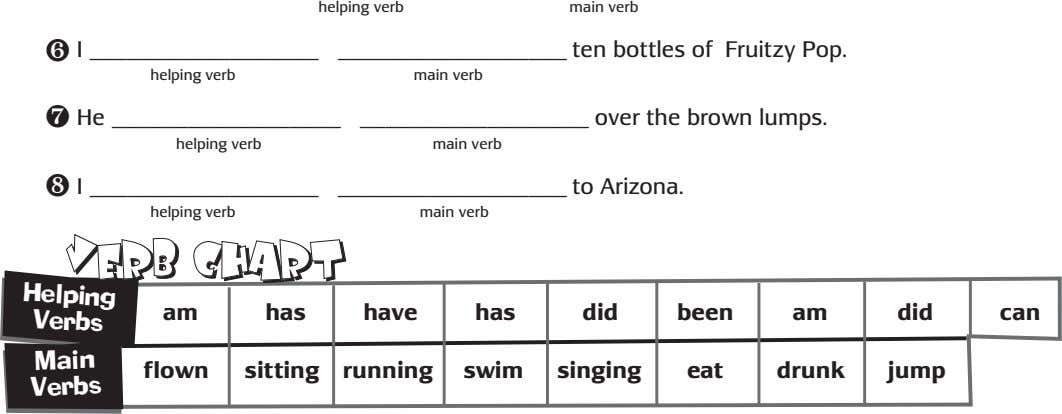 helping verb main verb ❻ I ten bottles of Fruitzy Pop. helping verb main verb