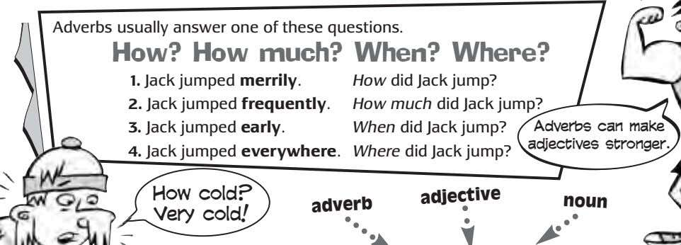 Adverbs usually answer one of these questions. How? How much? When? Where? 1. Jack jumped