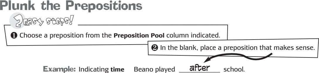 Plunk the Prepositions ❶ Choose a preposition from the Preposition Pool column indicated. ❷ In