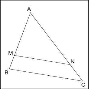 un triangle, M est un point de [AB], N un point de [AC] et [MN] et