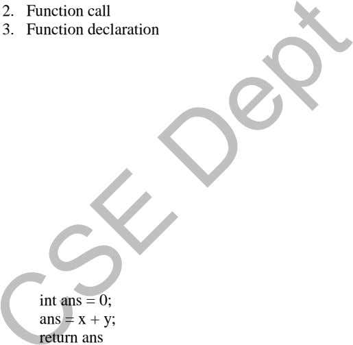 2. Function call 3. Function declaration int ans = 0; ans = x + y;