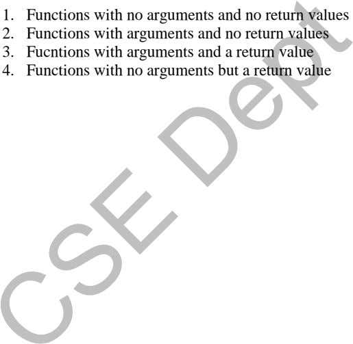 1. Functions with no arguments and no return values 2. Functions with arguments and no