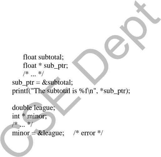 "float subtotal; float * sub_ptr; /* */ sub_ptr = &subtotal; printf(""The subtotal is %f\n"", *sub_ptr);"