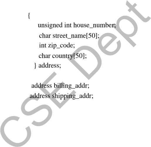 { unsigned int house_number; char street_name[50]; int zip_code; char country[50]; } address; address billing_addr;