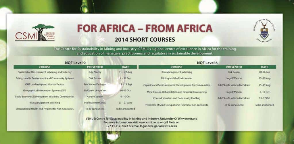 [Accessed 8 Jul. 2013]. ◆ The Journal of The Southern African Institute of Mining and