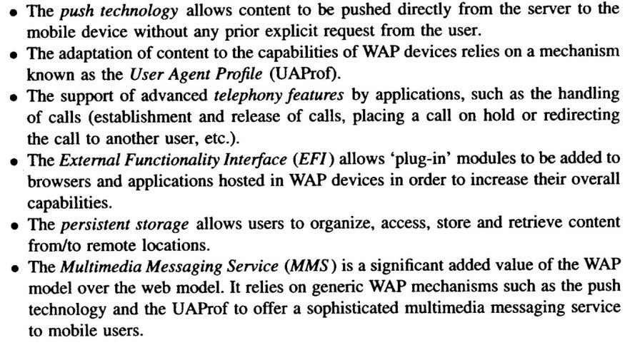 on WEB model of accessing services, but to cope with requirements of mobile environment it add
