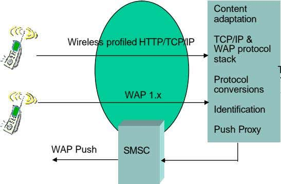 Content adaptation TCP/IP & Wireless profiled HTTP/TCP/IP WAP protocol stack Protocol conversions WAP 1.x